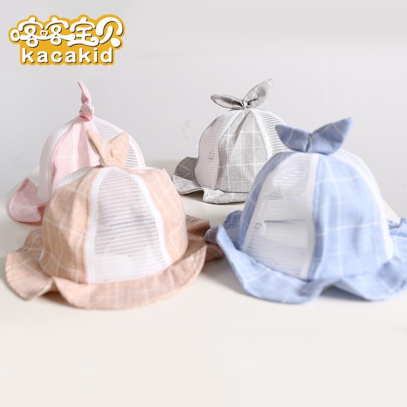 Kacakid Baby boy girls Caps Summer Kids grid Hats Baby bowl hat baby net hat sunshade hat