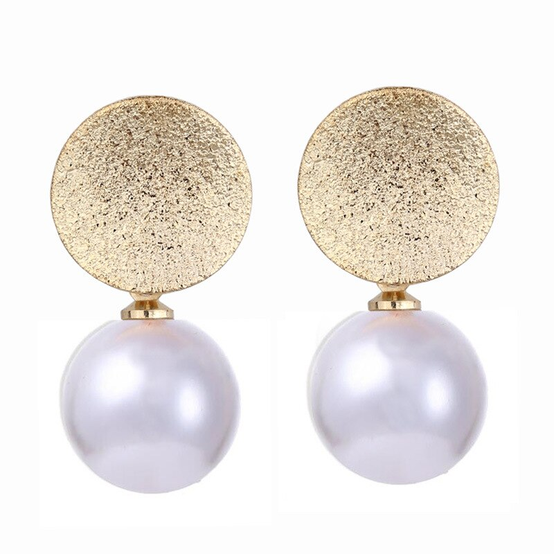 Seblasy High Quality Pearl Dangles Earrings For Women Gold Color Sequin Short Pendants Earrings Jewelry Bride Gift
