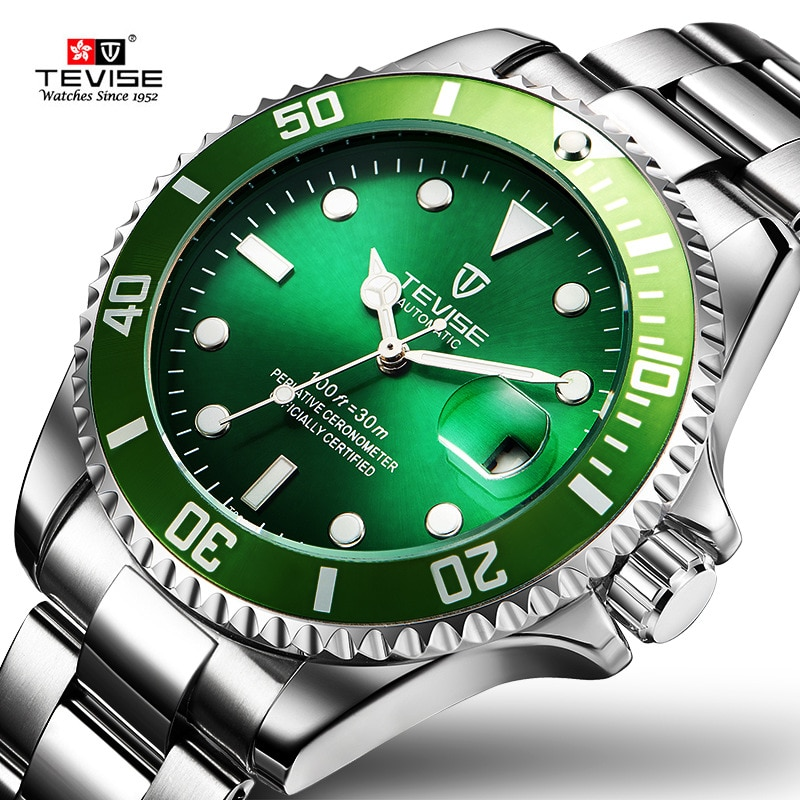 TEVISE Green Watch Men Automatic Mechanical Anti-Scratch Rotatable Outer Ring Waterproof Luminous Me