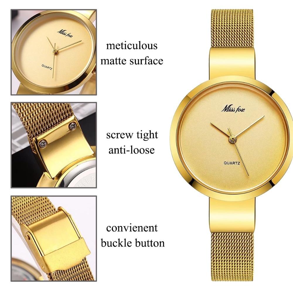 Miss Fox Women Gold Fashion Minimalist Watch Stainless Steel Mesh Ultra Thin Waterproof Causal Small Analog Quartz Female Watch enlarge