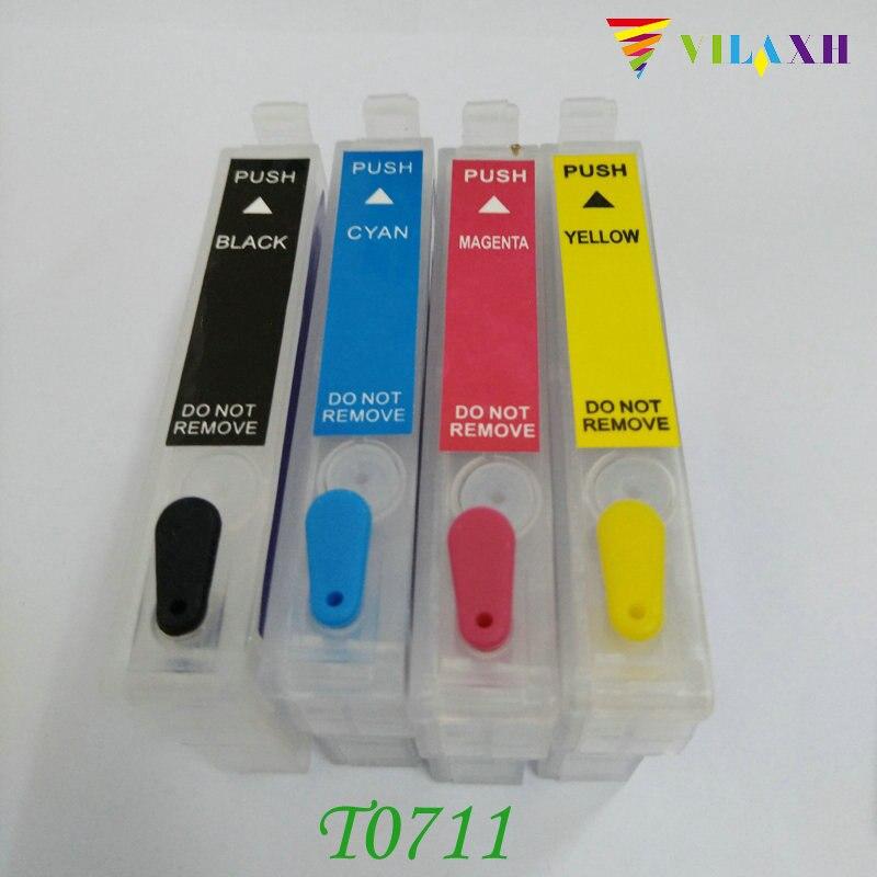 Vilaxh T0711 T0711 cartucho de Tinta Recarregáveis Para Epson Stylus D78 D92 D120 SX210 SX215 SX100 SX200 DX4000 DX4050 DX4400 DX4450