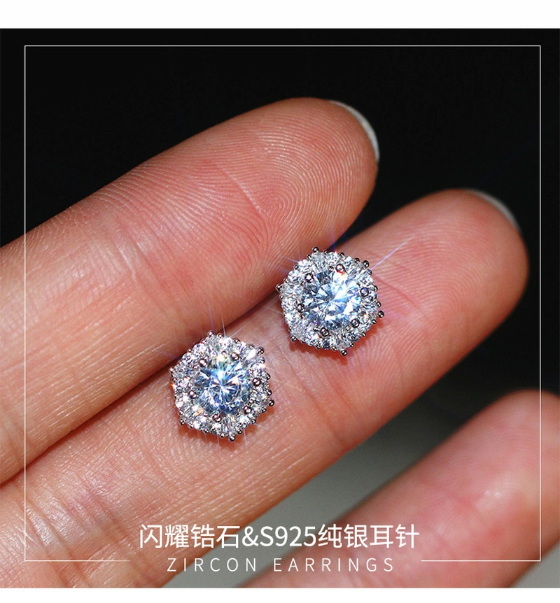 S925 sterling silver warna sederhana bulat bling zirkon batu anting - Perhiasan fesyen - Foto 4