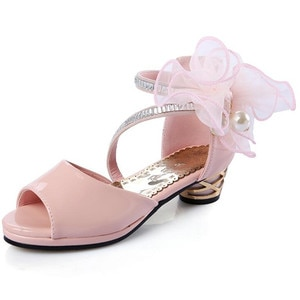 Girl fashion flowers high heels princess fish mouth sandals beautiful wedding shoes banquet party shoes high heels for girls