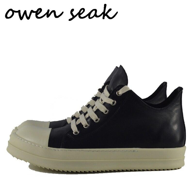 Owen Seak, zapatos informales para hombre, zapatillas deportivas de lujo de cuero genuino para adultos, zapatos planos de primavera para hombres, zapatillas blancas negras, mocasines de gran tamaño