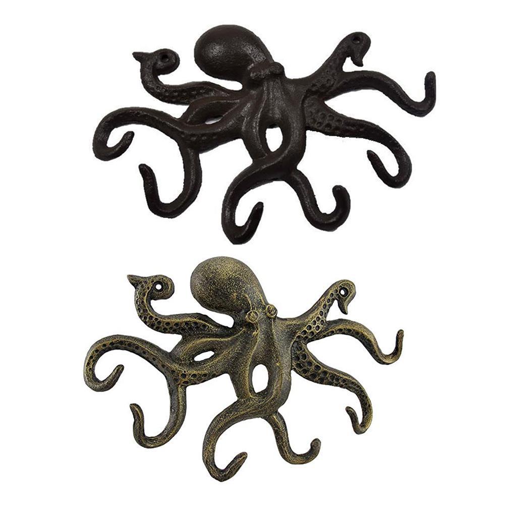 Ferro forjado forma de polvo ganchos chaves artesanato fixado na parede roupas cabide chave titular rack com 6 tentáculos em forma ganchos decoração da sua casa