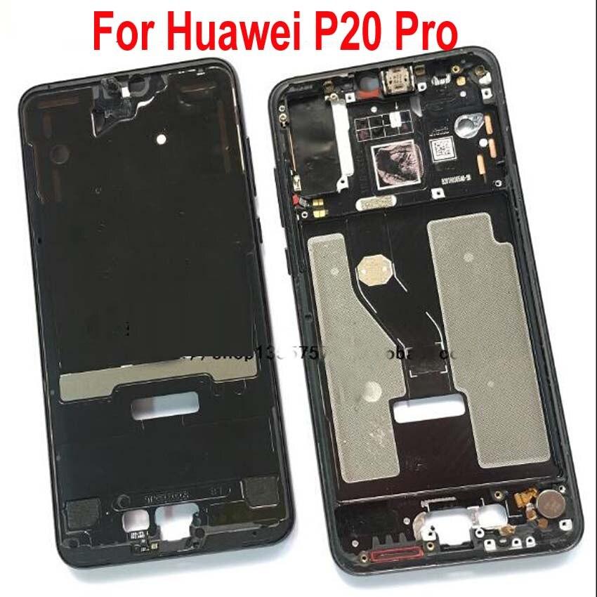 Original Tela LCD Apoio Frente Habitação Moldura/Frame Oriente com Botões De Volume De Energia Para Huawei P20 Pro P20Pro