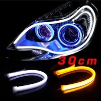 2pcspair sunkia 30cm flexible daytime running light whiteyellowbluered color available day driving switchback drl strip