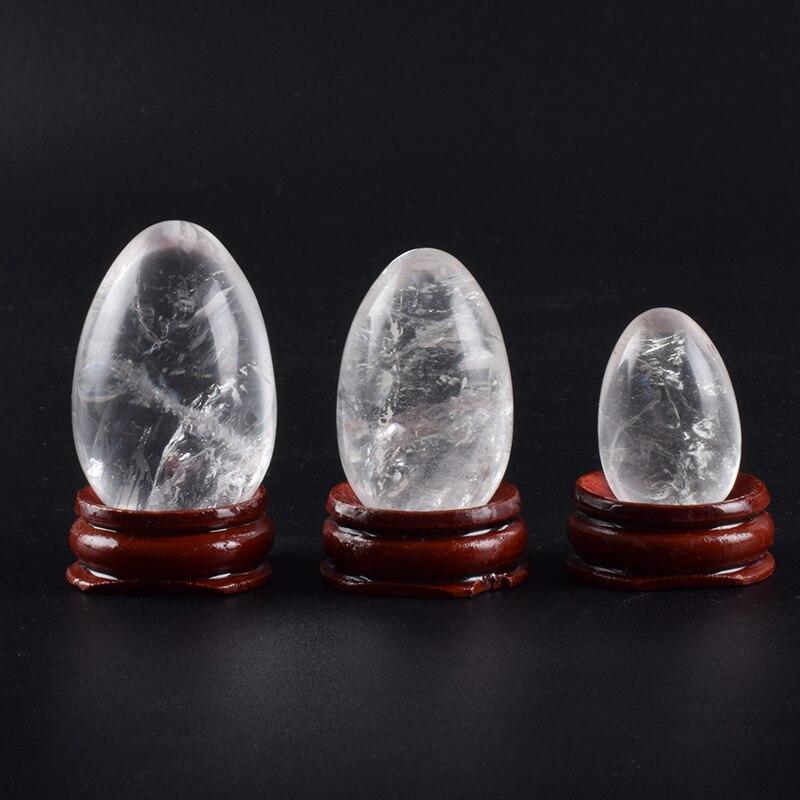 Natural de cristal de huevos de roca de piedra de cuarzo sin perforar juegos de pelota de los músculos del piso pélvico vagina salud cuidado masaje Ejercicio kegel