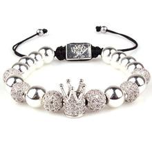 Imperial Crown King CZ Bracelets Luxury Fashion Charm Beads bracelet Jewelry for Men Women Gift