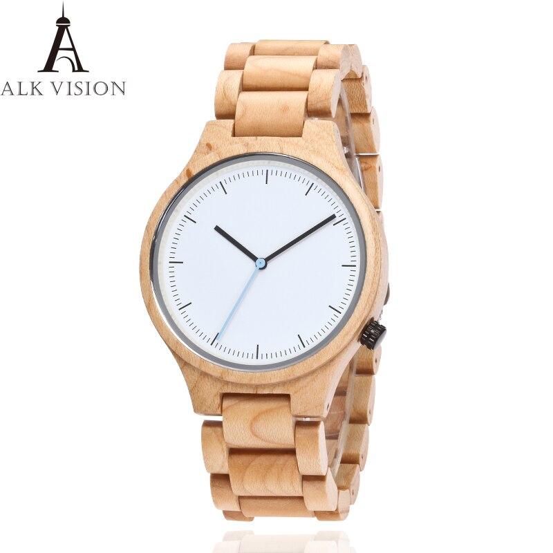 Reloj ALK VISION natural Maple para hombre, reloj de cuarzo con esfera de madera para mujer