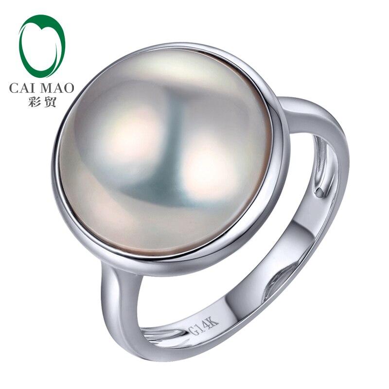 Anillo redondo de compromiso de oro blanco de 14k engaste liso de perla Mabe de 15mm de Caimao para mujer