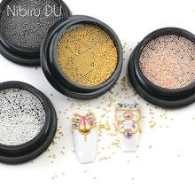 3g Nail Art Mini acier inoxydable métal perle gris or Rose petit Micro Caviar ongles perles 3D décorations