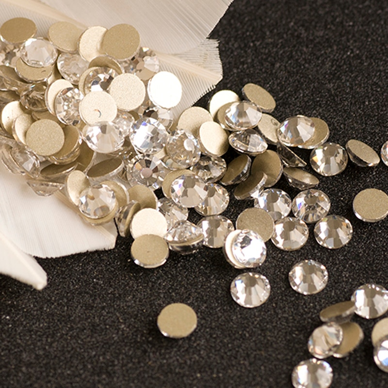 YANRUO-Strass cristaux cristal transparent   2058NoHF SS16, 1440 pièces, fond plat, Strass Non correcteurs sur ongles