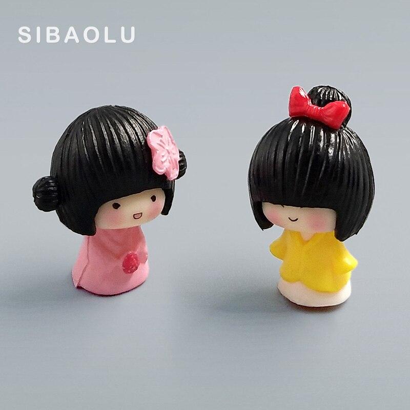 2pc/lot Janpanese Girl miniature figurine Bonsai decorative mini fairy garden people statue Moss ornaments resin craft TNA005