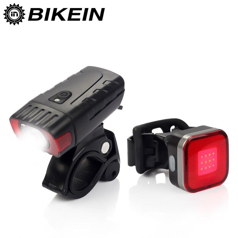 Bikein bicicleta de estrada led luz dianteira + lanterna traseira usb recarregável luz ciclismo mountain bike guiador mtb acessórios da bicicleta