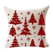 Paillettes de neige rouge magnifique arbre de noël   Saison bénédiction divers joyeux noël, coton lin jeter coussin C
