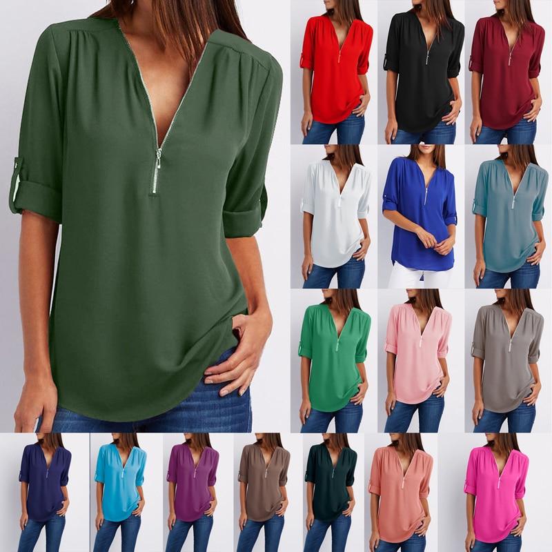 YRRETY, blusa de chifón de manga larga de verano, camisa sexi con cremallera y escote en V profundo, Tops para mujer, blusas de oficina para mujer, ropa de S-5XL de talla grande