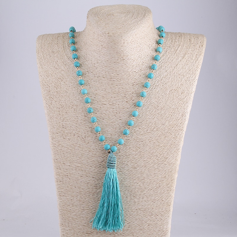 MOODPC moda Bohemia Tribal artesanal joyería turquesa azul piedra de aguja borla collar de las mujeres