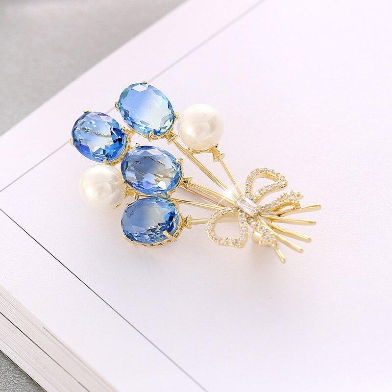 Elegantes broches de piedra de cristal azul claro para mujer, joyería de boda, accesorios de ramo, broche de moda, regalos, broches para mujer
