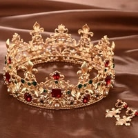 baroque retro luxury red crystal gold crown bridal wedding jewelry rhinestone tiaras crowns pageant dress hair accessories 2019