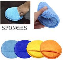 17cm Round Car Waxing Sponge Polishing Disc Microfiber Overlock Pocket Car Wash Sponge Cloths & Brushes Cleaning Sponge