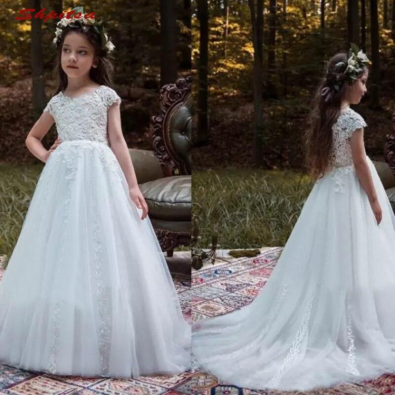 Vestidos de niña de las flores blancas para Bodas de tul para fiesta de flores primer desfile vestidos de comunión 2018