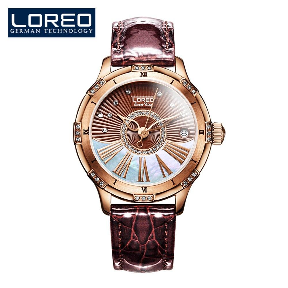 Женские часы с алмазным дисплеем LOREO, автоматические, механические, водонепроницаемые, кофейного цвета, 50 м