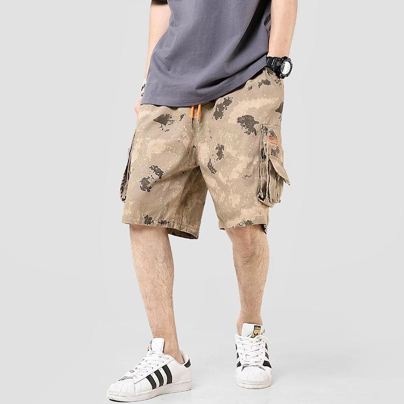 2020 lato kamuflaż wygodne szorty mężczyźni bawełniana styl miejski kolano długość męskie szorty cargo Side-pocket Camo bermudy męskie szorty