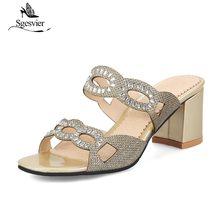 SGESVIER mode femmes sandales talons hauts chaussures été Peep Toe femme sandales talon épais noir or argent chaussures de fête B72