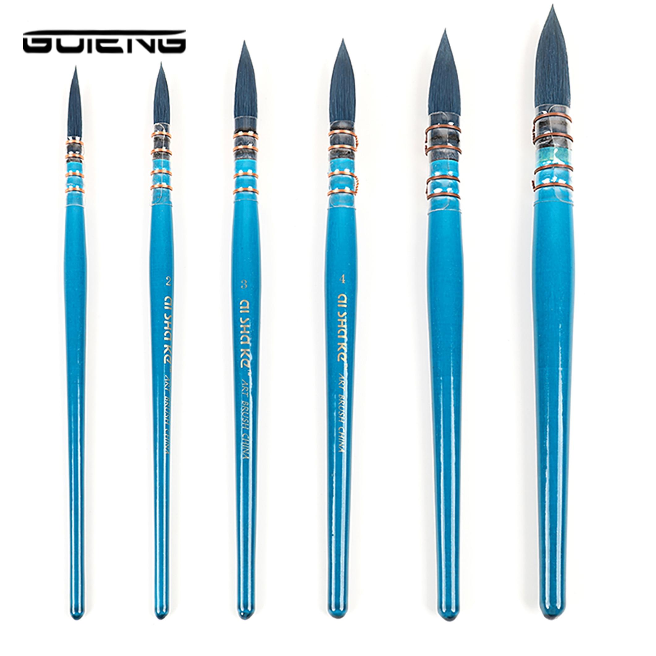 Pincel para escribir en madera azul para el artista pincel para pintar en acuarela pinceles para pintar en punta de estilo francés para suministros de arte en acuarela