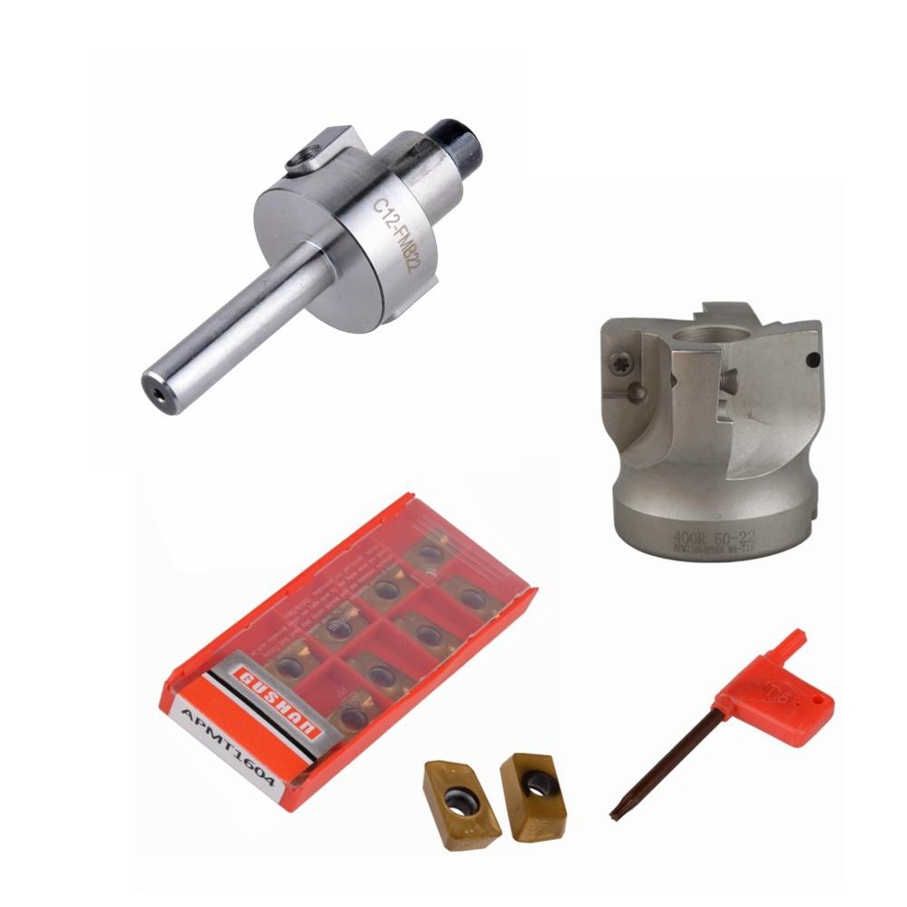 C12 FMB22 + 400R cortador de cara de hombro de ángulo recto 50mm + 10 Uds APMT1604 insertos de carburo con llave para herramienta de fresado