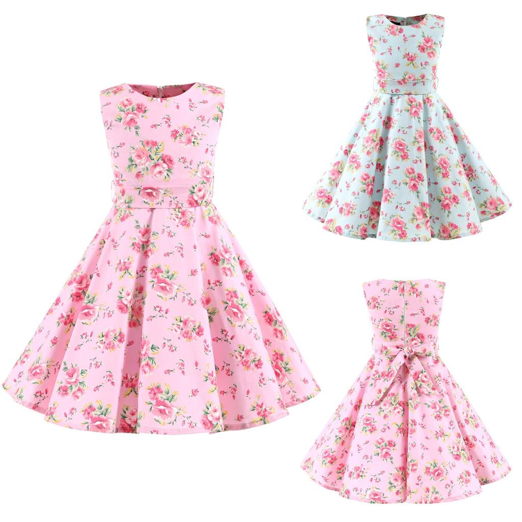 Verão Novo Fashon Crianças Adolescentes Crianças Meninas 1950 s Retro Sem Mangas Floral Impressão Arco vestido de Princesa Vestido Atacado Navio Livre Z4