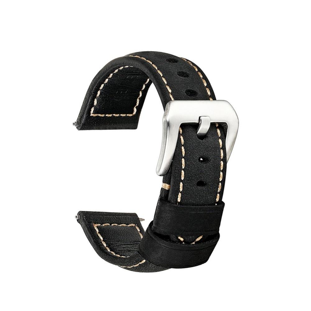 Onthelevel handmade Fashion Genuine leather watchband straps black  20mm 22mm watches men bracelet high quality