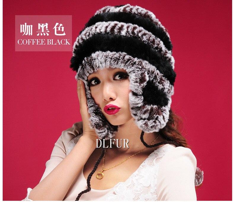 DL6039 Real Rex Rabbit Fur Hats Nature Fur Caps Knitted Fur Hats Cap Women Winter  Warm Ear Hat
