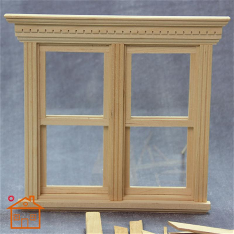 1:12 dollhouse miniature Double Sliding Sash Window Wooden doll furniture
