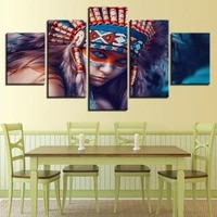 Peinture a lhuile sur toile fille indienne  5 pieces  impression sur toile  tableau dart mural pour maison  salon  decoration a la mode  offre speciale
