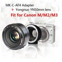Yongnuo YN50mm F1.8 objectif AF/MF objectif principal Standard + Meike MK-C-AF4 Meike adaptateur de mise au point automatique électronique pour appareil photo Canon M M2 M3