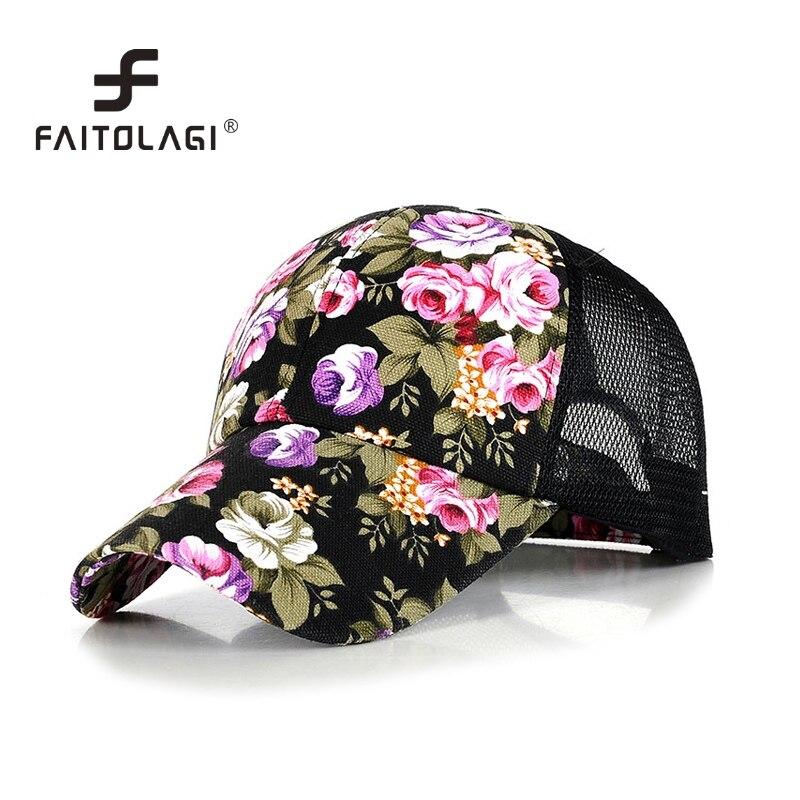 Gorras de béisbol florales de primavera 2020 para mujer, gorras de malla de moda, gorras transpirables con flores para el sol, gorras Snapback para mujeres y niñas