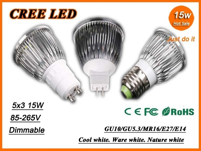 X10 Free shipping High power CREE GU10 E27 E14 MR16 9W 12W 15W 85-265V Dimmable Light lamp Bulb LED Downlight Led Bulb