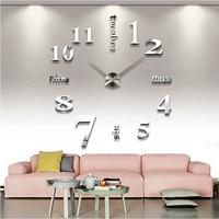 2020 DIY new 3D digital watch wall clocks Quartz large mirrored wall clock living room Modern Unique Numbers Design home decor