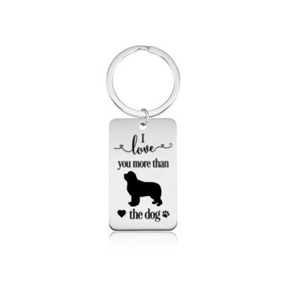 Nouveau je taime plus que le chien porte-clés couleur argent acier inoxydable terre-neuve porte-clés terre-neuve porte-clés