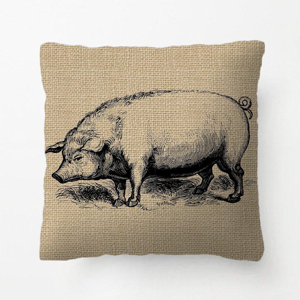 Funda de cojín decorativa vintage rústico Arte De Línea con diseño de cerdo, regalo personalizado de Lvsure para dormitorio