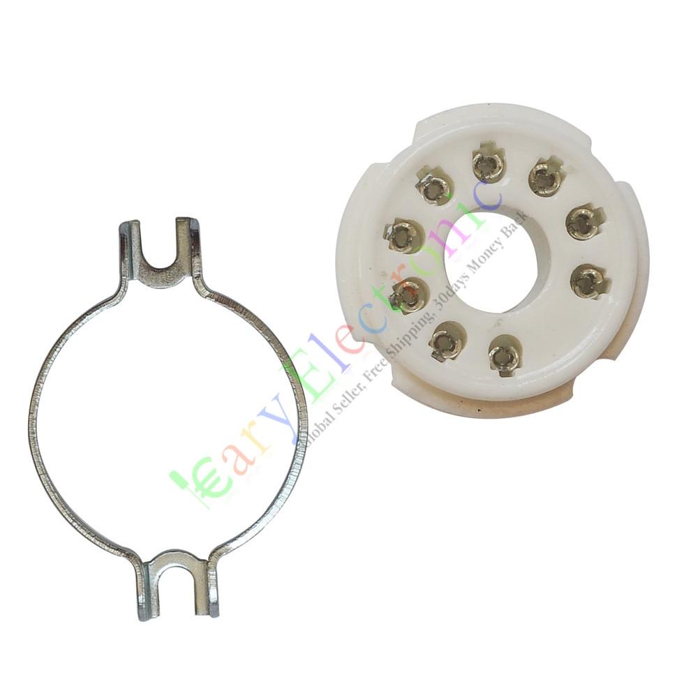 Venta al por mayor y al por menor 50pc 9pin de zócalos de tubo de vacío válvula para PL504 EL519 6P12P amplificadores de audio DIY envío gratis