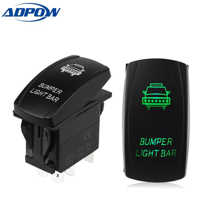 ADPOW 5 Pin стиль carling LED свет бар тумблер кулисный переключатель SPST ВКЛ-ВЫКЛ водонепроницаемый кулисный переключатель для лодки автомобиля грузовика 12V