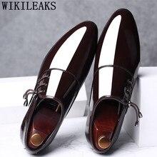 Hommes chaussures habillées en cuir verni bout pointu hommes fête mariage chaussures Derby chaussures Oxford chaussures pour hommes Zapatos De Vestir Hombre