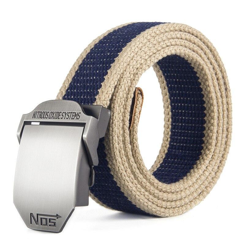 Cinturón militar Casual para hombre, nueva moda, gran oferta, cinturones militares para pantalones cortos Cargo, pantalones, pantalones, cinturón de lona, cinturones con hebilla metálica, 120cm
