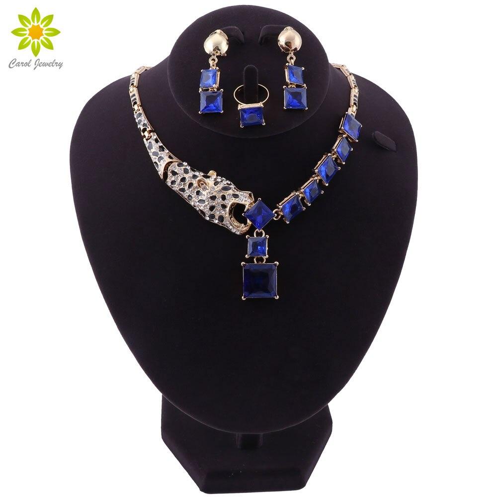 Blue Crystal Necklace Earrings Bracelet Set Indian Bridal Jewelry Sets Women's Party Costume Luxury Jewellery Gift