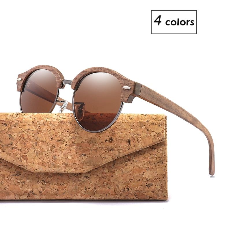 Semi-Rimless Round Wood Sunglasses for Men and Women Polarized UV400 Ladies Sun glasses Good Gift