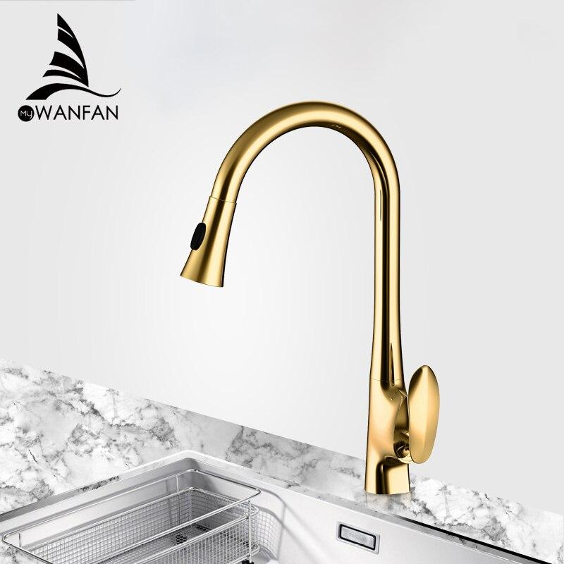 صنبور مطبخ بمقبض واحد ذهبي, صنبور مطبخ برأس قابلة للسحب لتنظيف فعال ، يد قابلة للدوران 360 درجة ، موديل 0166K