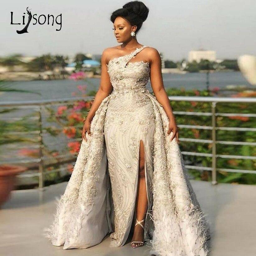 Luxe 2019 plume dentelle robes de soirée détachable Train perle fleur sirène longues robes de bal Sexy haut côté Split robe de soirée